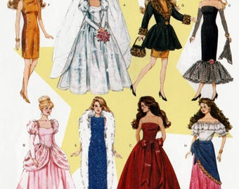 Fashion Doll Clothes Sewing Pattern for 11 1/2 inch Doll McCalls Crafts 6232 Barbie Doll Wardrobe UNCUT Wedding Dress Coat Evening Gowns