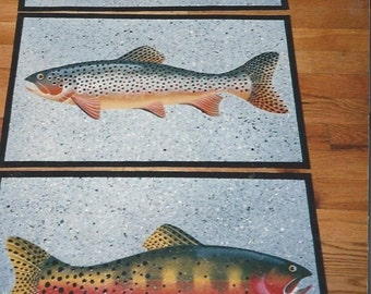 trout placemats set of four, rainbow, brown. brook and cutthroat trouts