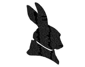 White Rabbit Alice In Wonderland Silhouette Print Black and White Lewis Carroll Quote Literature
