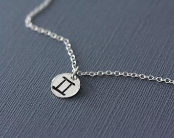 Gemini Zodiac Necklace - June Zodiac Hand Stamped Zodiac Necklace in Sterling Silver - Astrological Sign, Horoscope Jewelry