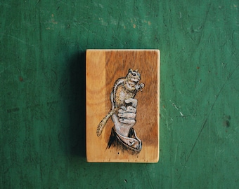 Symbiosis, Chipmunk Painting, Nature Painting on Reclaimed Wood