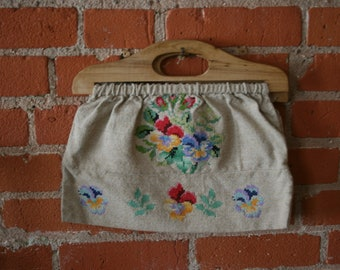 1930s 1940s Floral Needlepoint Knitting Bag Purse