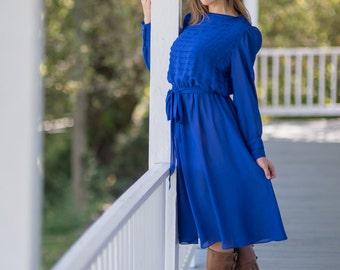 Vintage 1980s Sheer Cobalt Blue Dress (Size Medium/Large)