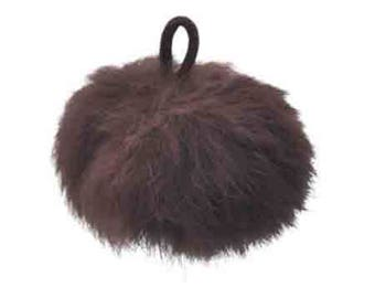 Ball of chocolate brown plush with loop elastic size 60mm
