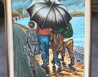 Under umbella, Lesvos, Mytilene, rain, Maniatis, oil painting