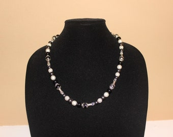 Black, White, and Silver Beaded Necklace