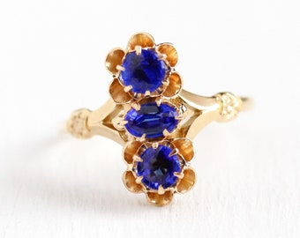 Simulated Sapphire Ring - Antique 10k Rosy Yellow Gold 3 Stone Navette - Vintage Late 1890s Size 7 1/2 Fine September Birthstone Jewelry