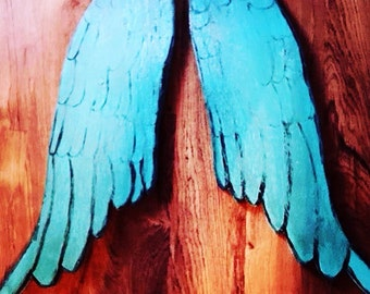 Turquoise angel wings, angel, wings, angel wings, wall hanger, wall decor