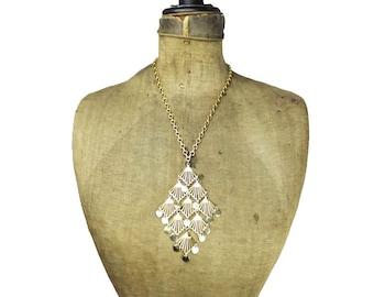 Vintage Gold Tassel Necklace, Large Gold Pendant Necklace, Chunky Gold Tassel Necklace, Chunky Gold Necklace, Gold Chain Tassel Necklace