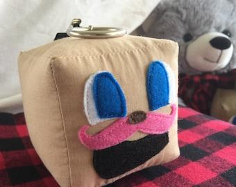"Tiny Box Tim Keychain! Cotton Plush Toy. 3"" cube. Markiplier Youtuber. Pink Warfestache Mustache!"