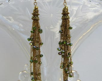Green Crystal Tassels