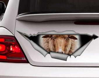 Sheep car decal, funny car decal, farm decal, sheep  sticker, animal sticker