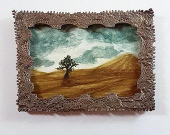 Miniature Framed Painting: Desert Tree