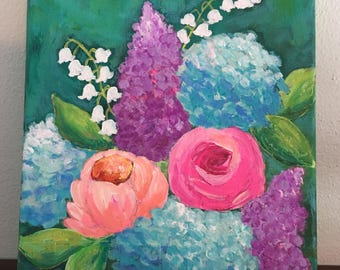 Floral Home Decor, Flower Painting, Lilacs Painting, Hydrangea Painting, Peony Painting, Rose Painting, Colorful Art, 8x10 Original Painting