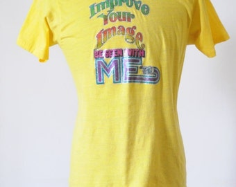 70's SOFT VINTAGE T shirt Tee Sunshine Yellow Super Soft Vintage T Shirt Size Large by Screen Stars