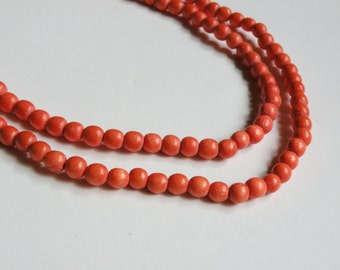 Tangerine Orange wood beads round 6mm full strand eco-friendly Cheesewood 9412NB