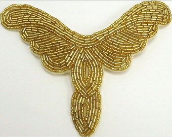 """Neckline Applique All Beads, 5.5"""" x 4.25""""  Choice of Gold, Black or Iridescent -B198"""