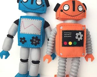 Cute Blue And Orange Standing Plush Felt Robots