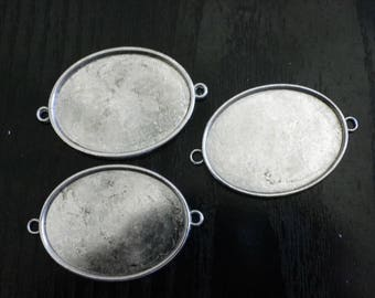 3 big connectors oval frame 50 mm x 30 mm antique silver veuillit