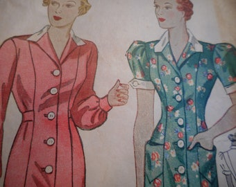 Vintage 1940's Simplicity 2237 Smock Dress Sewing Pattern Bust 34
