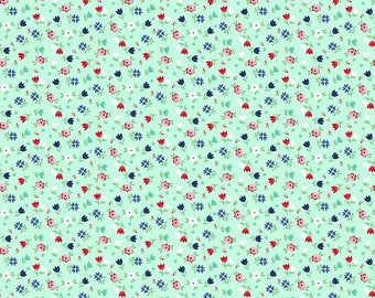 SALE A Little Sweetness Floral Mint - Riley Blake Designs - Green Flowers - Jersey KNIT cotton lycra stretch fabric - choose your cut