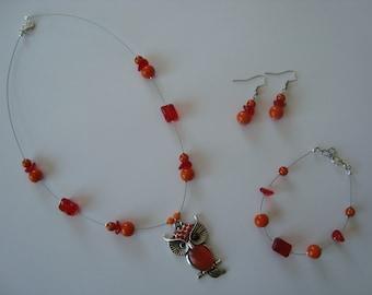Orange red OWL jewelry set