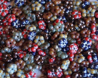 150 5mm Picasso Spacer Mix - Small Flowers - Flower Rondelle Mix - Czech Glass Beads - Picasso Mix - Bead Soup Beads