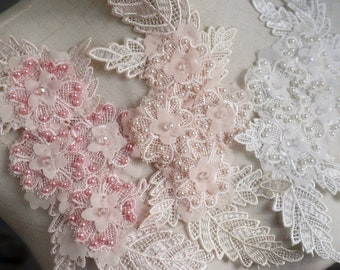one exquisite 3D florals beaded Lace appliques,  bridal dress costume dress sewing accessories
