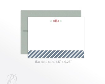 Monogram Note Cards, Personalized Stationery Set, Personalized Note Card, Monogram Stationery Flat Note Cards, Preppy Notecards, Stationary