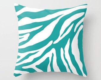 Zebra Pillow  - Teal Pillow  - Teal and White Zebra Pillow  - Animal Print Decorative Pillow - By Aldari Home