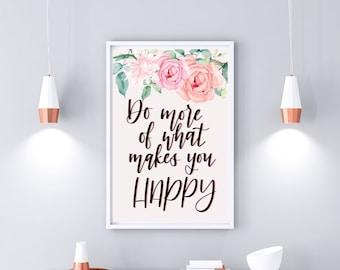 Happy print - digital print - modern calligraphy