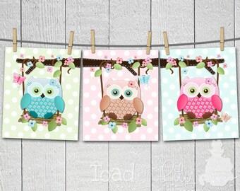 Set of 3 Sweet Little Owls on Swings Girls Bedroom Nursery 8 x 10 ART PRINTS