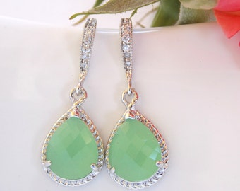 Wedding Jewelry, Mint Green Earrings, Light Green, Pistachio, Silver, Cubic Zirconia, Bridesmaid Jewelry, Bridesmaid Earrings, Dangle, Gift
