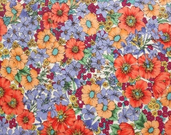 SALE - Liberty tana lawn printed in Japan - Gloria flowers  - Orange mix