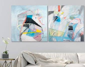 "ABSTRACT PAINTING original wall art colorful abstract art Blue white pink grey 63x32"" acrylic painting canvas art by Duealberi"