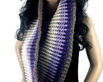 Outlander Striped Cowl - Gift Under 50 - Purple Brown White Scottish Winter accessories Circle Scarf Crochet Knit FREE SHIPPING CS08