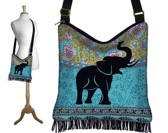 Elephant Hippie Bag Fringe Boho Bag Hobo Purse Handbag  Bohemian Cross Body Shoulder Bag Paisley blue green black RTS