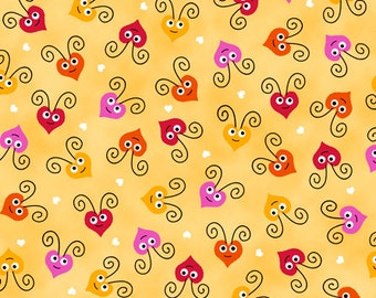 Love Bug Heart Faces Yellow Fabric By the Yard