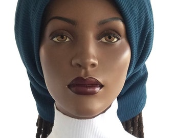 Hair Sock Fully Lined Teal Soft Rib Sweater Knit Big Braids Sock Dreadlocks Headband Natural Hair Sock Handmade