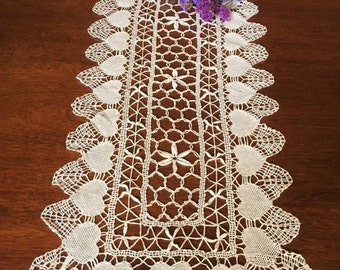Vintage Crochet Table Runner With Hearts