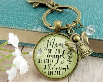 Child's Remembrance Memorial Keychain Mom of An Angel Defiantly Choosing.. Breathe Angel Charm Sympathy Jewelry Gift Bereavement Miscarriage