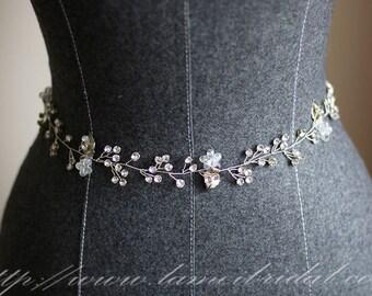 Hand made Rhinestone Crystal Bridal Wedding dress sash ,bridal sash belt  with Silver Color Leaves and crystal flower