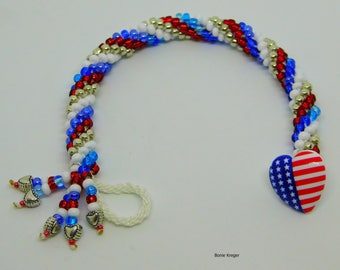 Patriotic Bracelet with American Flag Button