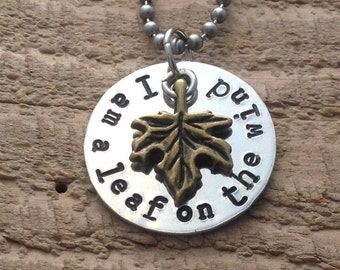 """Firefly """"I am a leaf on the wind"""" necklace"""