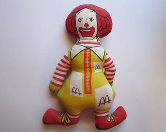 vintage stuffed RONALD MCDONALD doll - vintage handmade soft sculpture doll