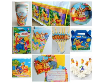 Winnie the Pooh Birthday Party Supplies Cups Plates Tablecover Invitations Banner Straws Treat Boxes Treat Bags Favors Cupcake Toppers
