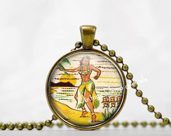 HAWAIIAN Hula Dancer Pendant Necklace Hawaii  Glass Art Jewelry , Tiki Necklace Jewelry, Vintage Hawaii Art