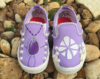 KIDS Hand Painted Sofia the First inspired canvas shoes- VANS