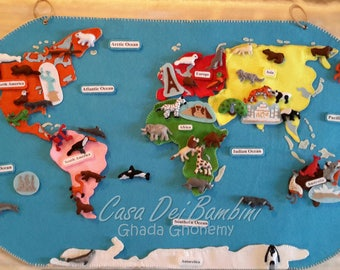 Montessori Continents of the world felt map, Geography Lesson, Educational Toys, Handmade Craft, Felt Activities, Gift For Toddler and kids