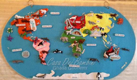 Montessori continents of the world felt map geography lesson gumiabroncs Images